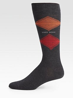 BOSS Black - Cotton-Blend Argyle Socks