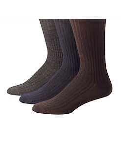 Saks Fifth Avenue Men's Collection - Ribbed Merino/Silk OTC Socks
