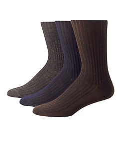 Saks Fifth Avenue Men's Collection - Ribbed Merino/Silk Socks