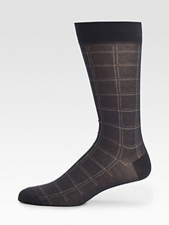 Marcoliani - Windowpane Pima Cotton Socks