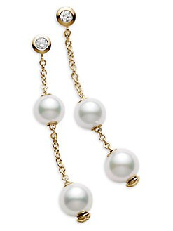 Mikimoto - 7MM White Cultured Pearl, Diamond & 18K Yellow Gold Earrings