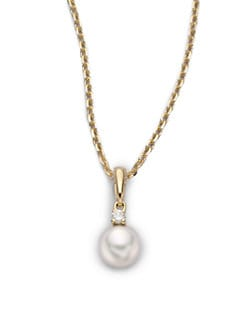 Mikimoto - 6MM White Cultured Pearl, Diamond & 18K Yellow Gold Necklace
