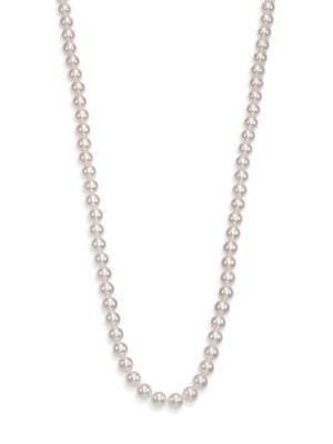 Basic 7MM-7.5MM White Cultured Akoya Pearl & 18K White Gold Strand Necklace/40