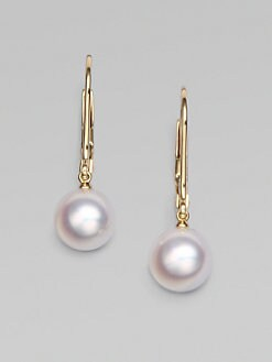 Mikimoto - 18k Gold 7MM White Round Akoya Pearl Earrings