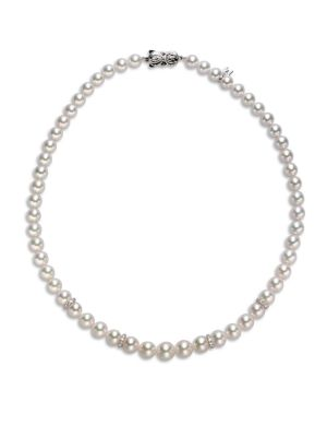 "MIKIMOTO 7MM-9MM White Pearl, Diamond & 18K White Gold Necklace/18"""