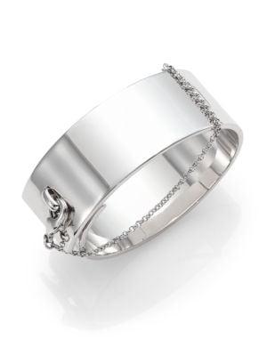 Safety Chain Cuff Bracelet/Silvertone