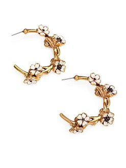 Oscar de la Renta - Crystal-Adorned Floral Hoop Earrings/2.5