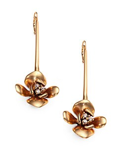 Oscar de la Renta - Linear Pave Lily Drop Earrings