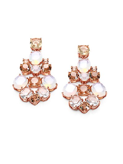 Kate Spade New York Faceted Chandelier Earrings   Rose Gold