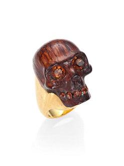Alexander McQueen - Small Skull Wood Ring