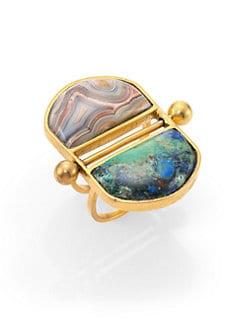 A Peace Treaty - Mani Azurite Malachite & Red Lace Agate T-Bar Double Dome Ring