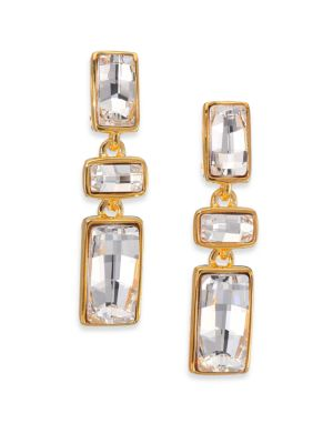 Jeweled Rectangle Drop Earrings