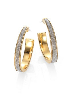 ABS by Allen Schwartz Jewelry - Glitter-Coated Hoop Earrings/1