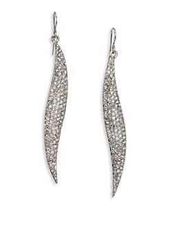 ABS by Allen Schwartz Jewelry - Pavé Wave Drop Earrings/Silvertone