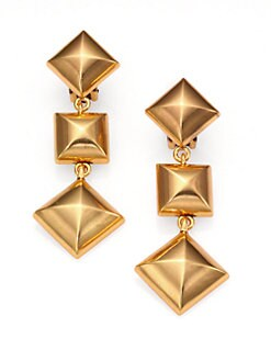 Oscar de la Renta - Pyramid Stud Clip-On Drop Earrings