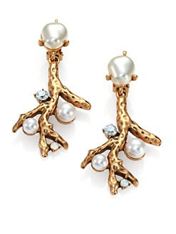 Oscar de la Renta - Swarovski Crystal & Faux Pearl Coral Branch Clip-On Earrings