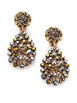 Oscar de la Renta - Swarovski Crystal Teardrop Clip-On Earrings