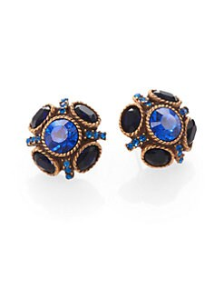 Oscar de la Renta - Swarovski Crystal Button Earrings