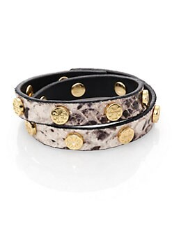 Tory Burch - Double Wrap Snake-Embossed Leather Logo Bracelet