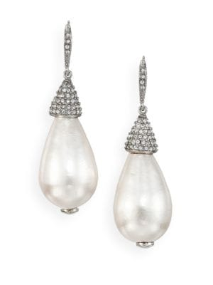 Faux Pearl & Crystal Teardrop Earrings