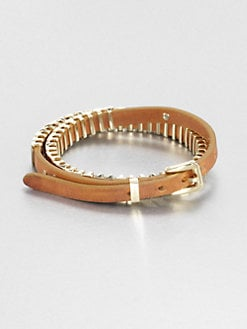 Michael Kors - Leather Double-Wrap Bracelet/Gold
