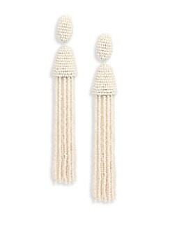 Oscar de la Renta - Long Beaded Tassel Clip-On Earrings
