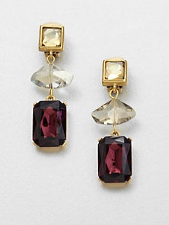 Oscar de la Renta - Faceted Long Clip-On Drop Earrings