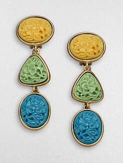 Oscar de la Renta - Tri-Tone Floral Medallion Earrings