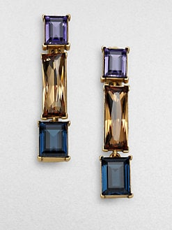 Oscar de la Renta - Tri-Color Faceted Drop Earrings