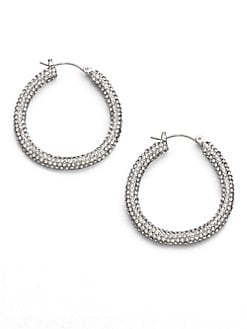 ABS by Allen Schwartz Jewelry - Pavé Hoop Earrings/1.25