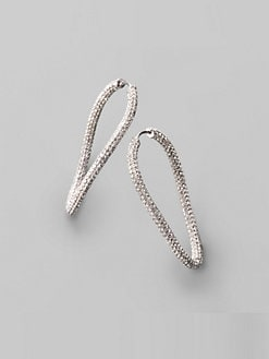 Adriana Orsini - Asymmetrical Pave Hoop Earrings/1¾