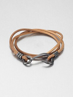 Giles & Brother - Triple Wrap Leather Fish Hook Bracelet