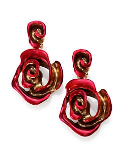 Oscar de la Renta - Painted Rose Clip-On Drop Earrings