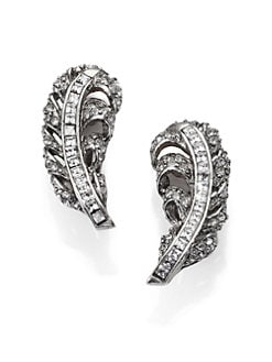 Oscar de la Renta - Pave Crystal Feather Clip-On Earrings