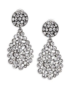 Oscar de la Renta - Pave Crystal Teardrop Earrings/Silvertone