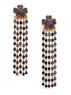 Oscar de la Renta - Floral Crystal Tassel Clip-On Earrings