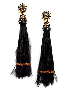 Oscar de la Renta - Long Feather Beaded Tassel Clip-On Earrings