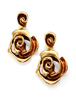 Oscar de la Renta - Rose Clip-On Drop Earrings