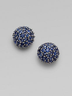 M.C.L by Matthew Campbell Laurenza - Pave Sapphire Half Ball Stud Earrings