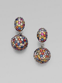 M.C.L by Matthew Campbell Laurenza - Multi-Colored Sapphire Pavé Drop Earring