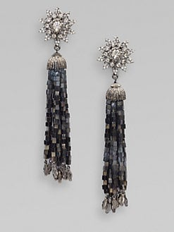 Oscar de la Renta - Crystal Accented Tassel Earrings