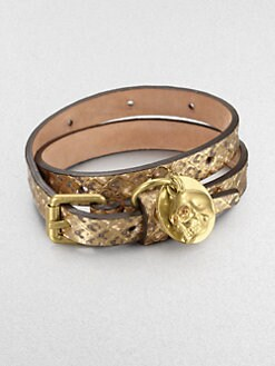 Alexander McQueen - Double Wrap Metallic Snake Embossed Leather Bracelet