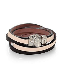 Alexander McQueen - Dual Strap Double-Wrap Leather Bracelet
