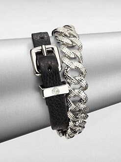 Marc by Marc Jacobs - Leather and Chain Double-Wrap Bracelet/Black