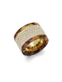 Michael Kors - Pav&eacute; Tortoise-Print Barrel Ring