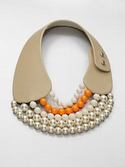 FLorian - Leather and Bead Collar Necklace