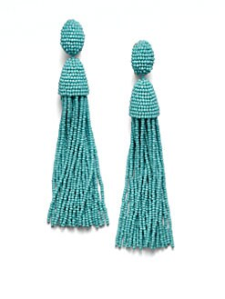 Oscar de la Renta - Hematite Seed Beaded Fringe Earrings
