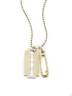 McQ Alexander McQueen - Razor & Safety Pin Pendant Necklace/Silvertone