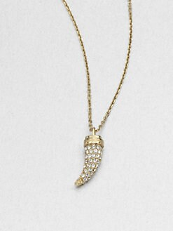 Michael Kors - Pave Horn Pendant Necklace/Goldtone
