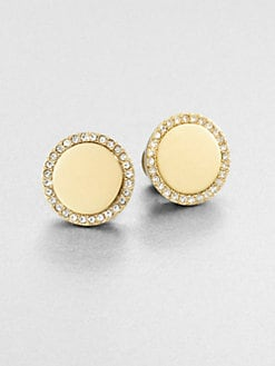Michael Kors - Pave Disc Button Earrings/Goldtone